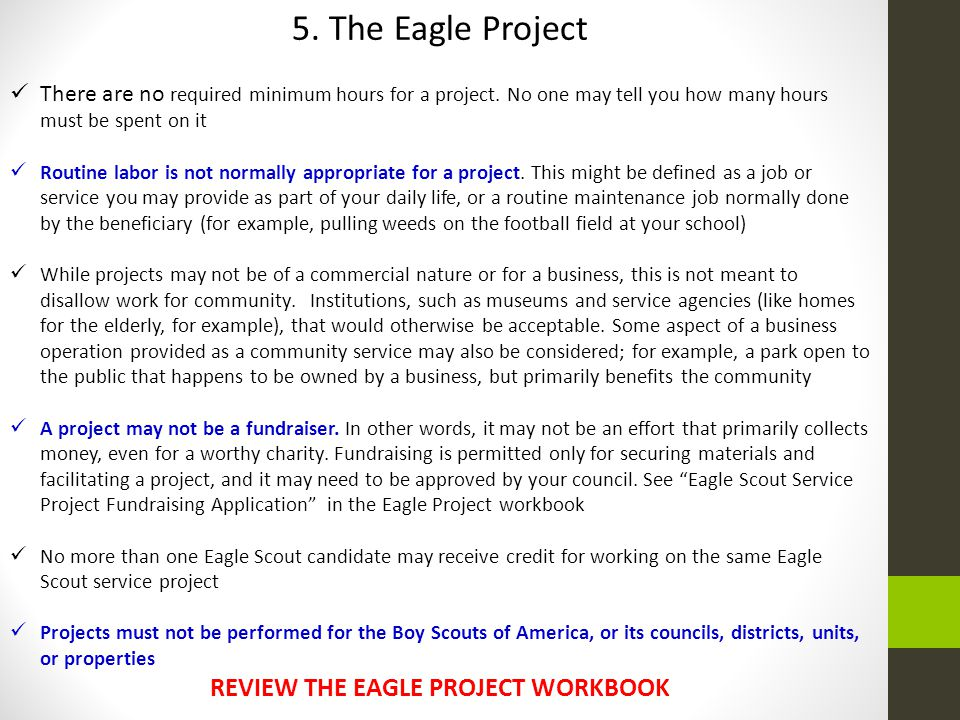 REVIEW THE EAGLE PROJECT WORKBOOK