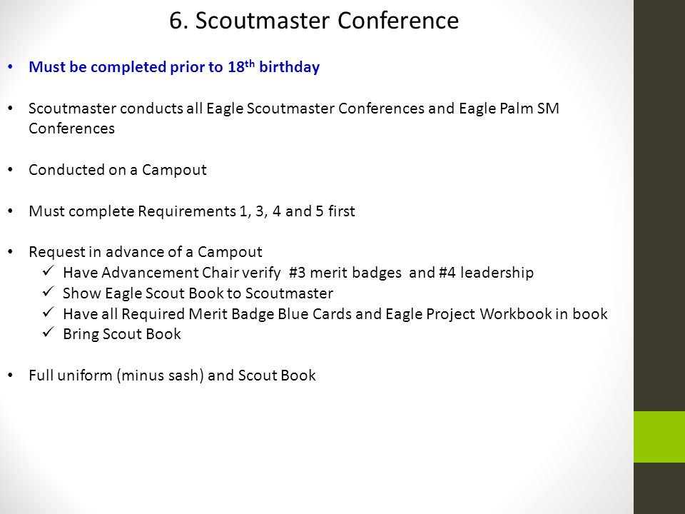 6. Scoutmaster Conference