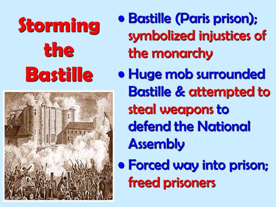 Storming the Bastille Bastille (Paris prison); symbolized injustices of the monarchy.