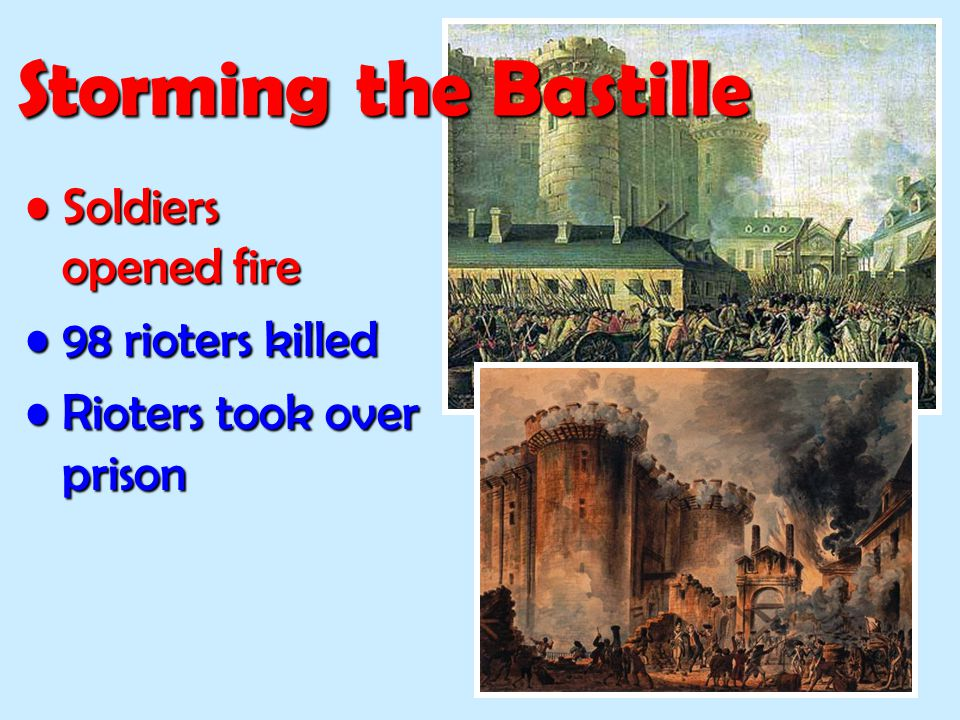 Storming the Bastille Soldiers opened fire 98 rioters killed