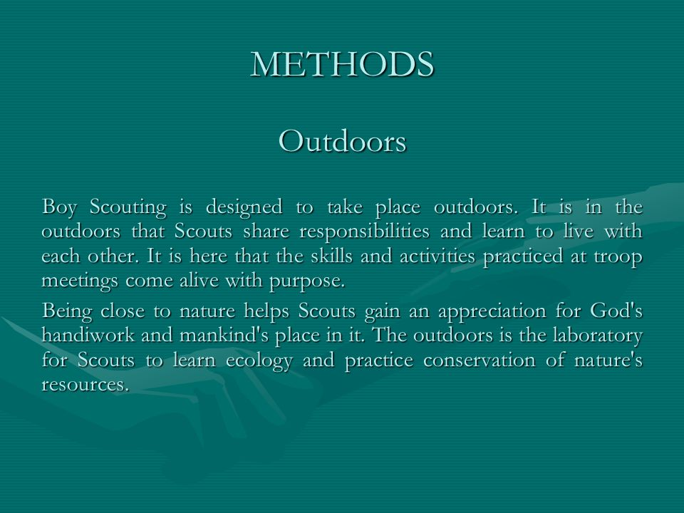 METHODS Outdoors.