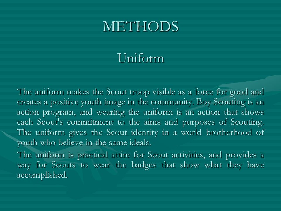METHODS Uniform.