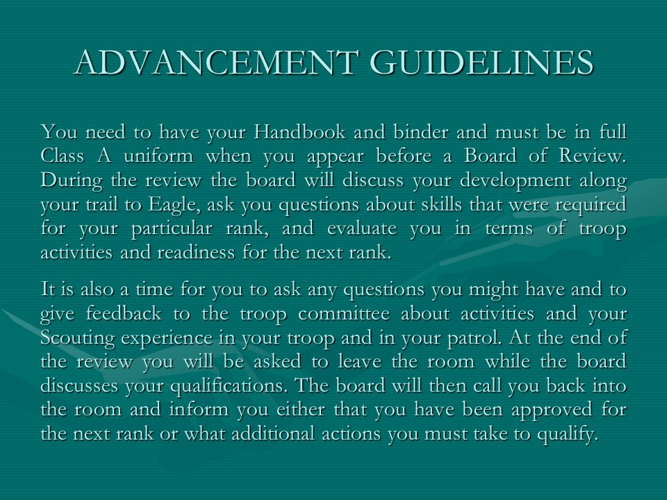 ADVANCEMENT GUIDELINES