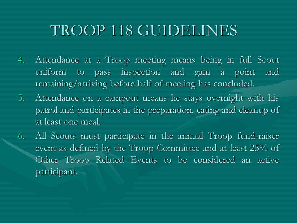 TROOP 118 GUIDELINES