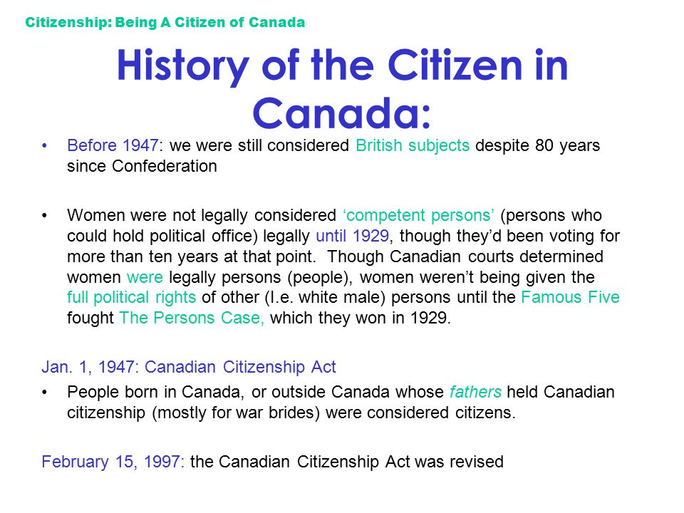History of the Citizen in Canada:
