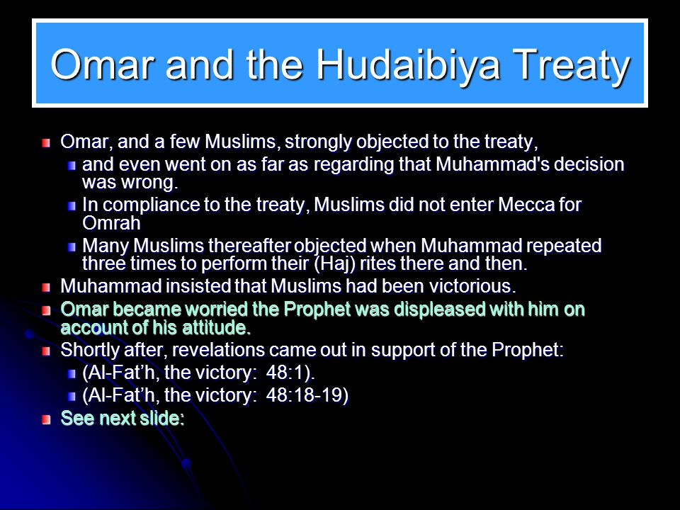 Omar and the Hudaibiya Treaty