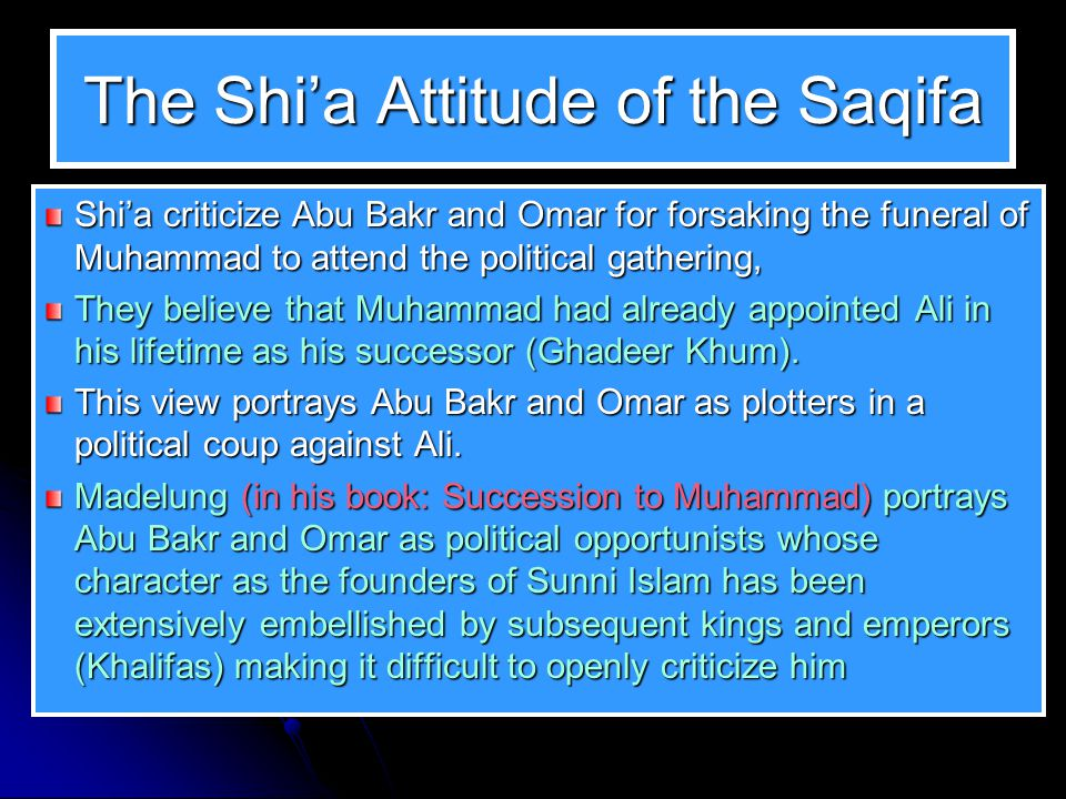 The Shi'a Attitude of the Saqifa