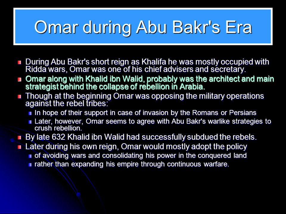 Omar during Abu Bakr s Era