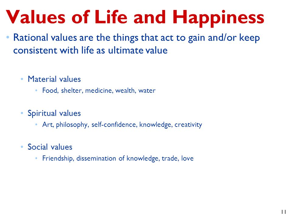 Values of Life and Happiness