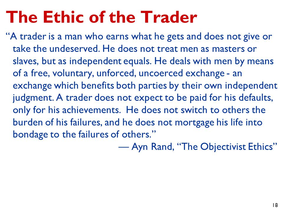 The Ethic of the Trader
