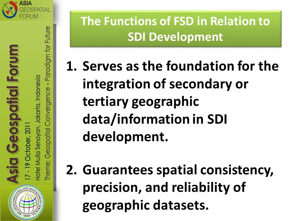 The Functions of FSD in Relation to SDI Development
