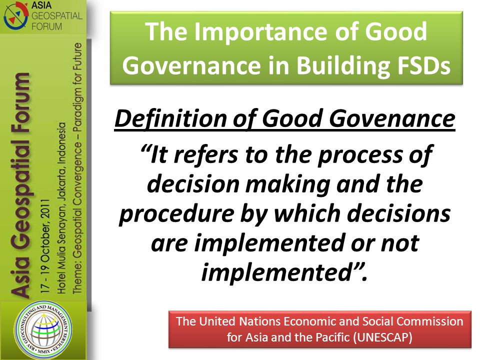 The Importance of Good Governance in Building FSDs