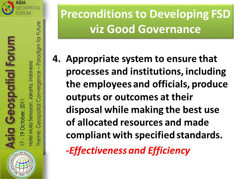 Preconditions to Developing FSD viz Good Governance