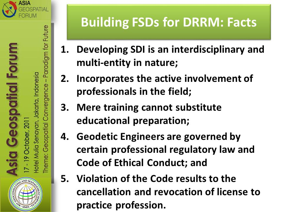 Building FSDs for DRRM: Facts