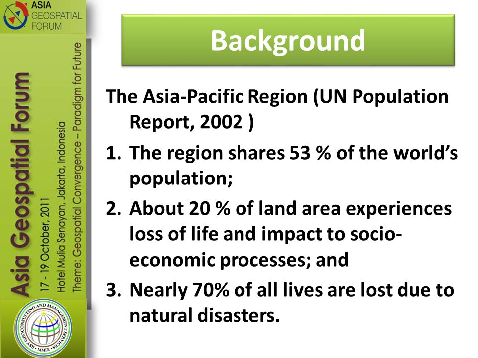 Background The Asia-Pacific Region (UN Population Report, 2002 )