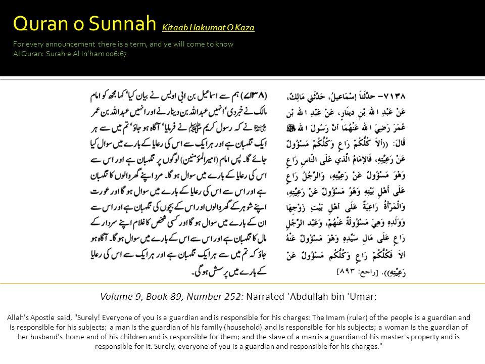 Volume 9, Book 89, Number 252: Narrated Abdullah bin Umar: