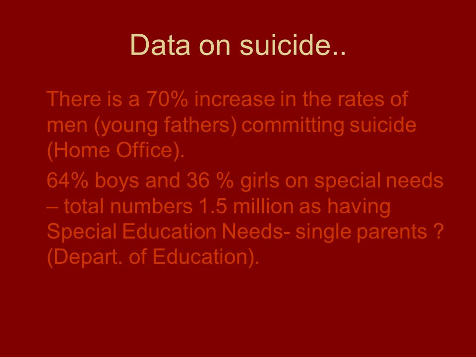 Data on suicide.. There is a 70% increase in the rates of men (young fathers) committing suicide (Home Office).