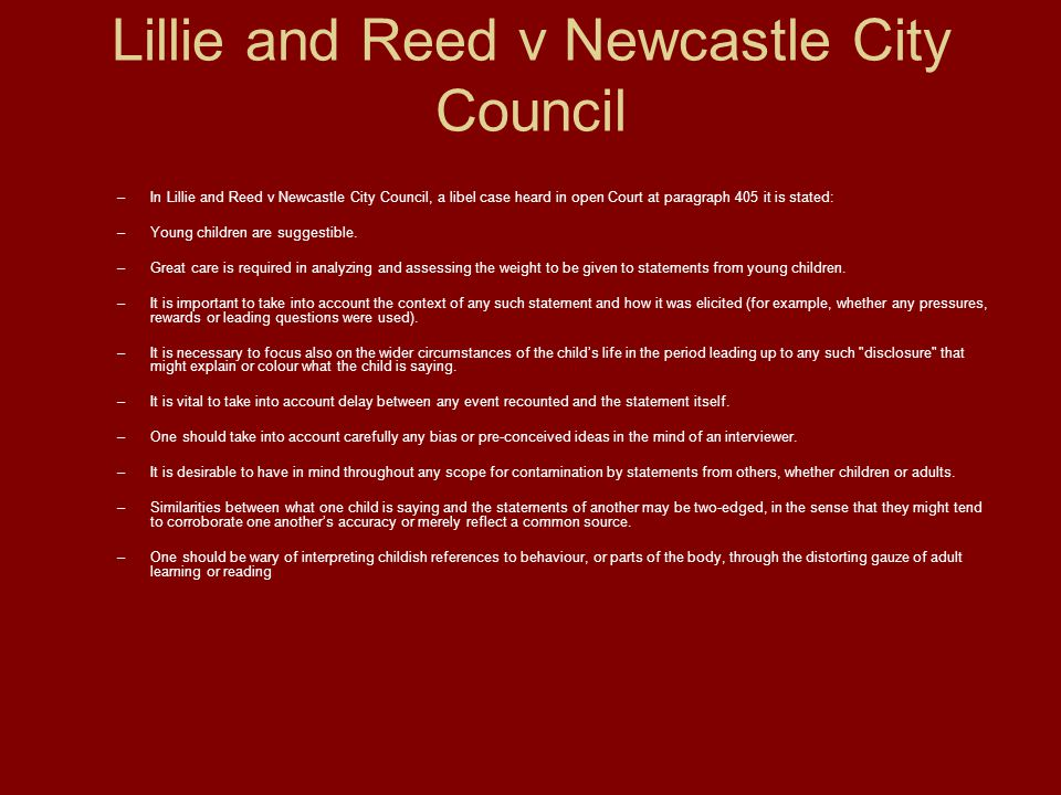 Lillie and Reed v Newcastle City Council