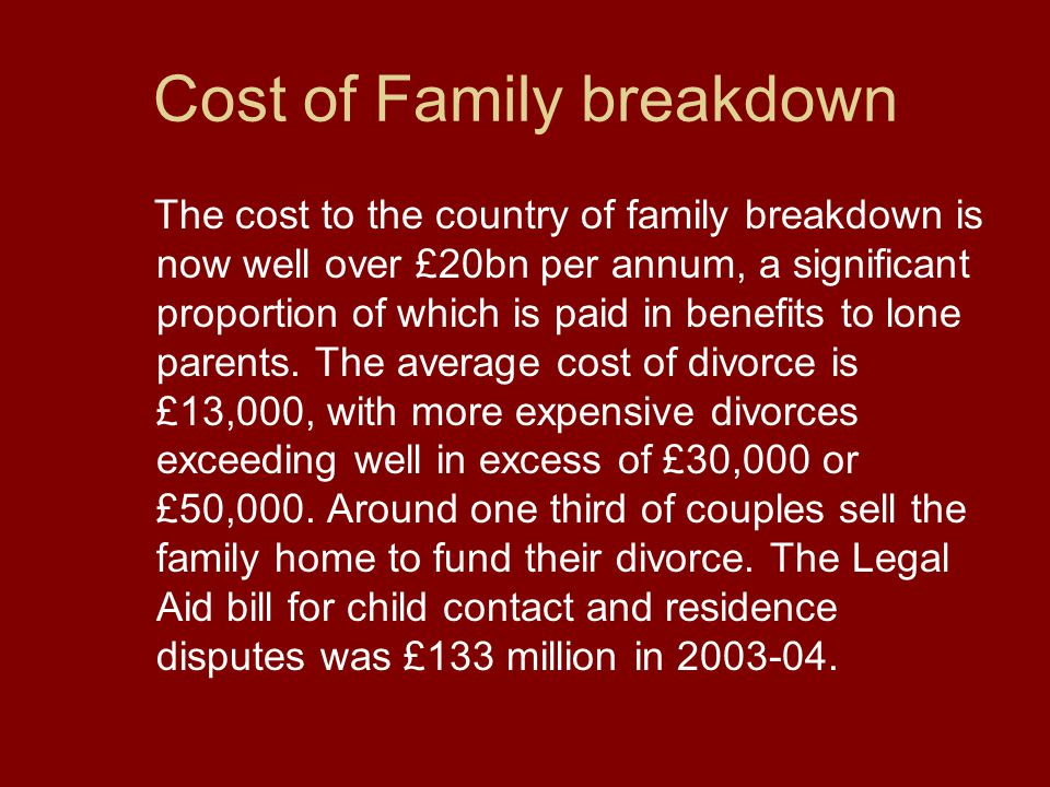 Cost of Family breakdown