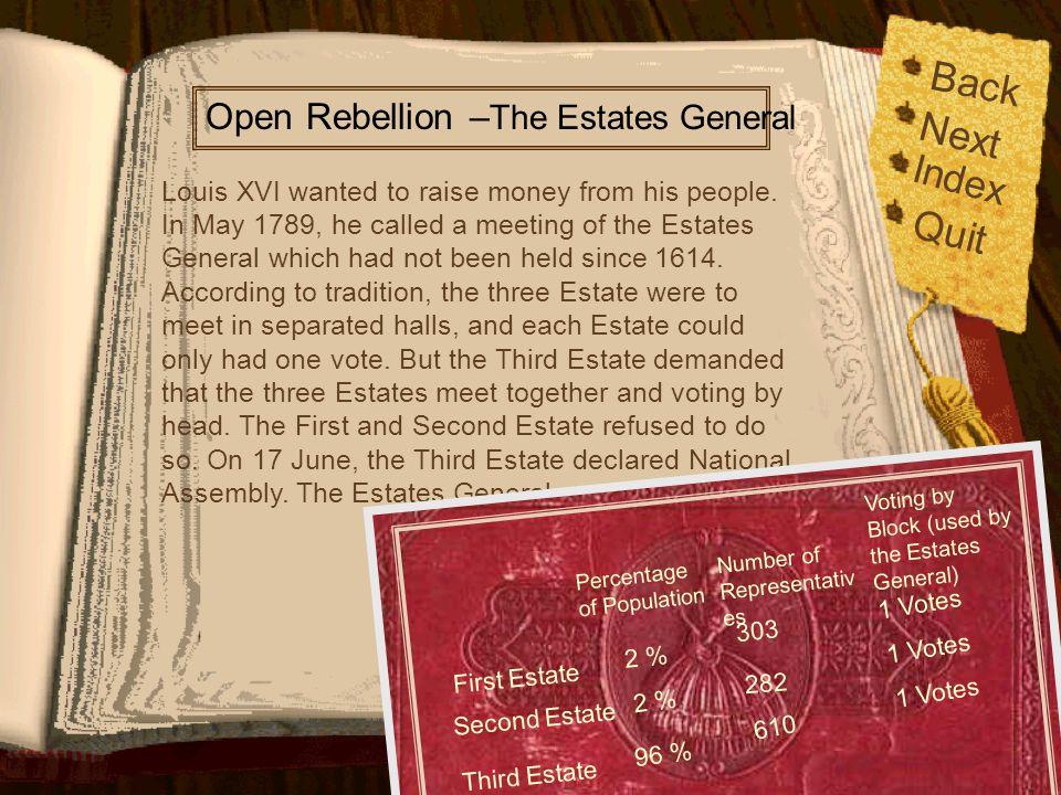 Back Next Quit Index Open Rebellion –The Estates General