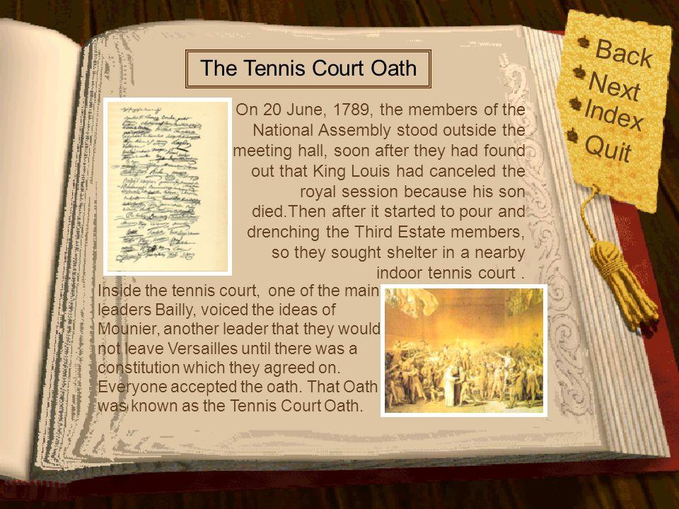 Back Next Quit Index The Tennis Court Oath