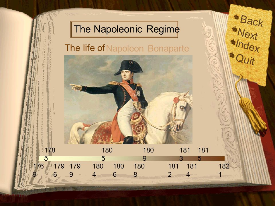 Back Quit Next Index The Napoleonic Regime The life of