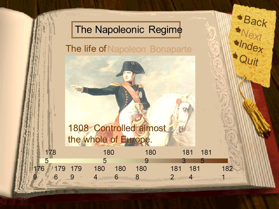 Back Next Quit Index The Napoleonic Regime The life of