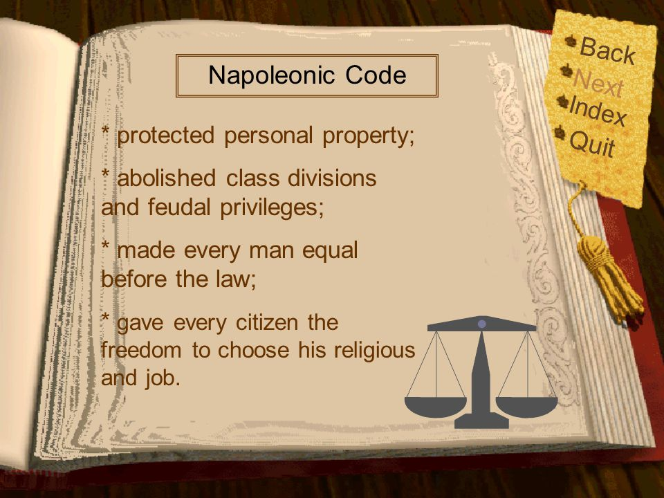 Back Napoleonic Code Next Quit Index * protected personal property;