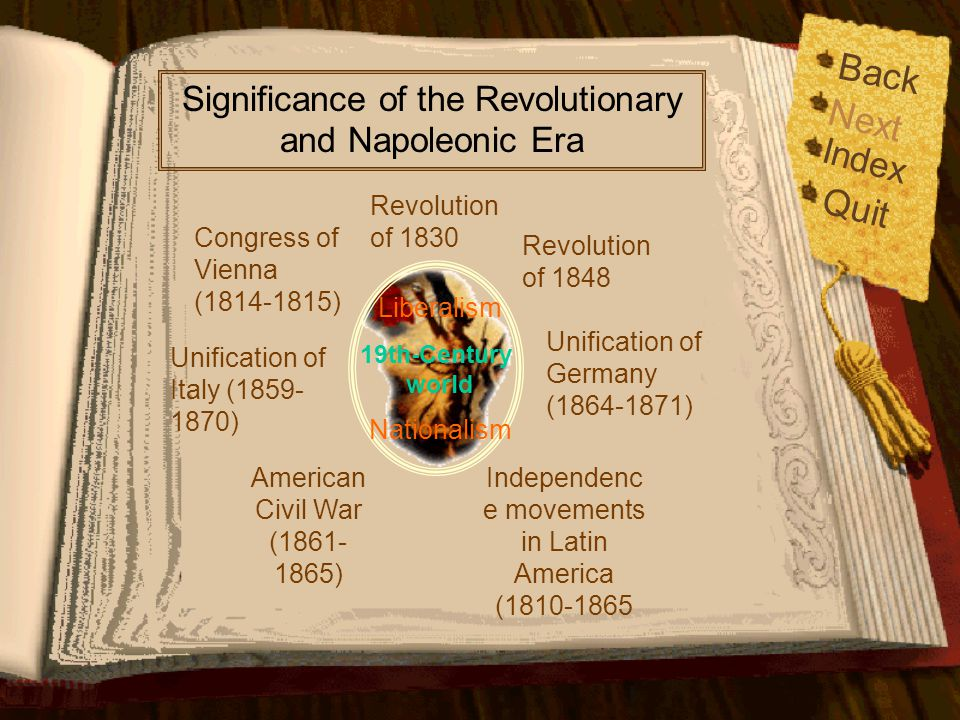 Back Significance of the Revolutionary and Napoleonic Era. Next. Index. Revolution of 1830. Quit.