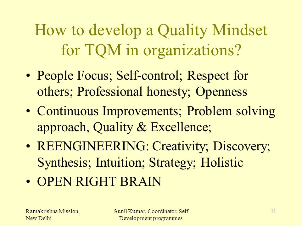 How to develop a Quality Mindset for TQM in organizations
