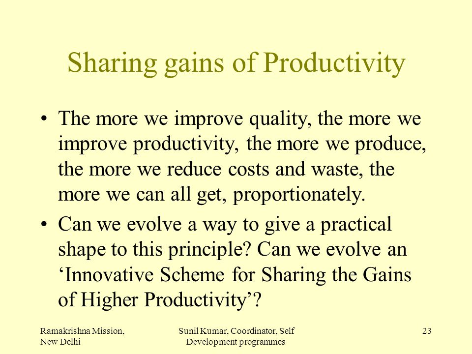 Sharing gains of Productivity