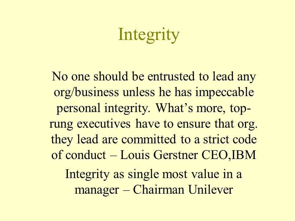 Integrity as single most value in a manager – Chairman Unilever