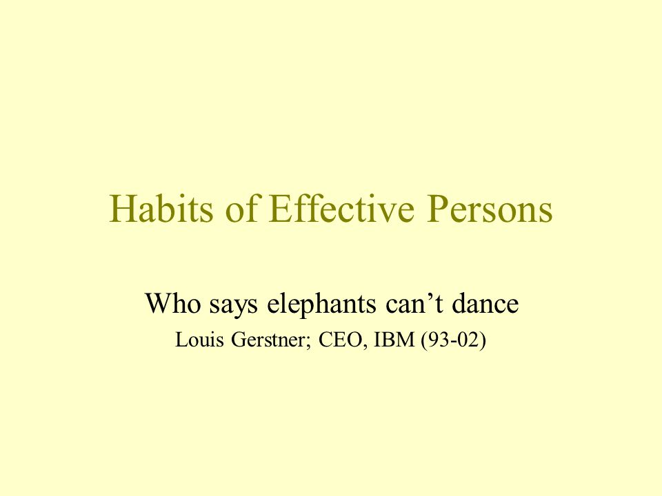 Habits of Effective Persons