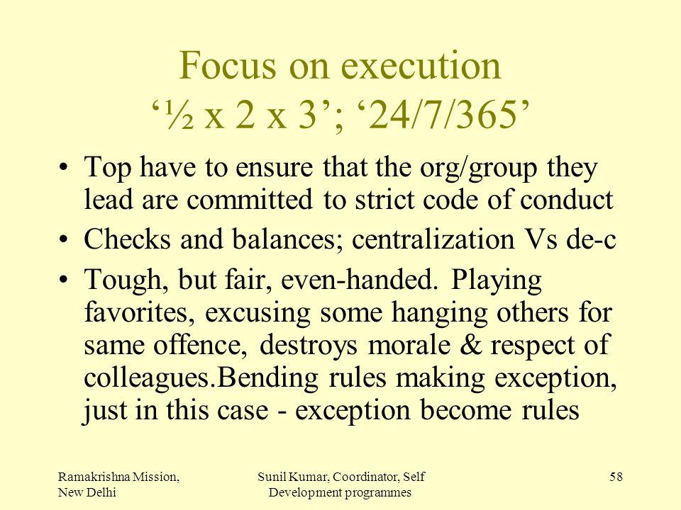 Focus on execution '½ x 2 x 3'; '24/7/365'