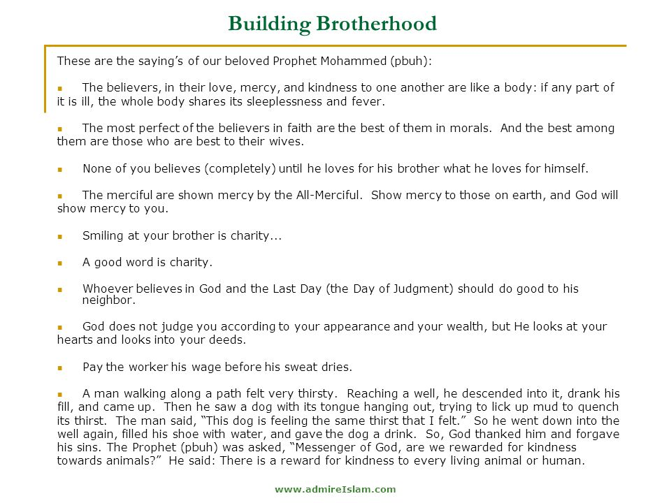 Building Brotherhood These are the saying's of our beloved Prophet Mohammed (pbuh):
