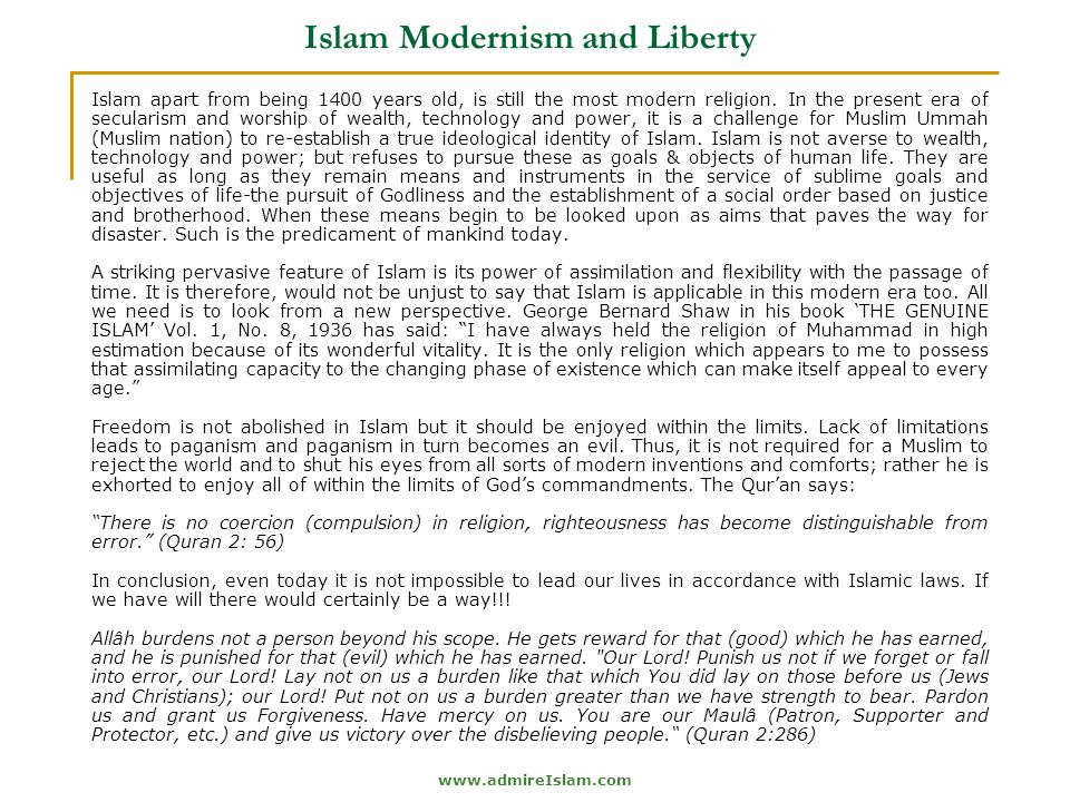 Islam Modernism and Liberty