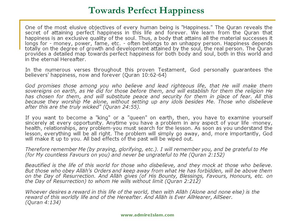 Towards Perfect Happiness