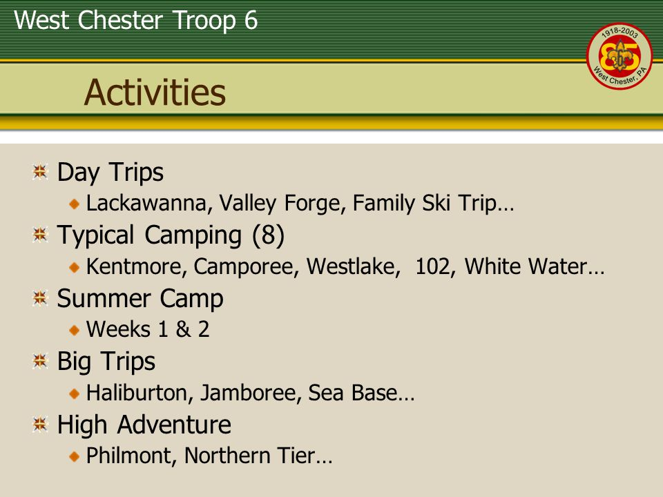 Activities Day Trips Typical Camping (8) Summer Camp Big Trips