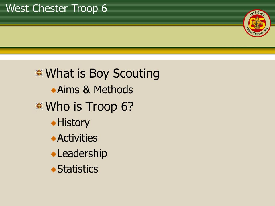 What is Boy Scouting Who is Troop 6 Aims & Methods History Activities