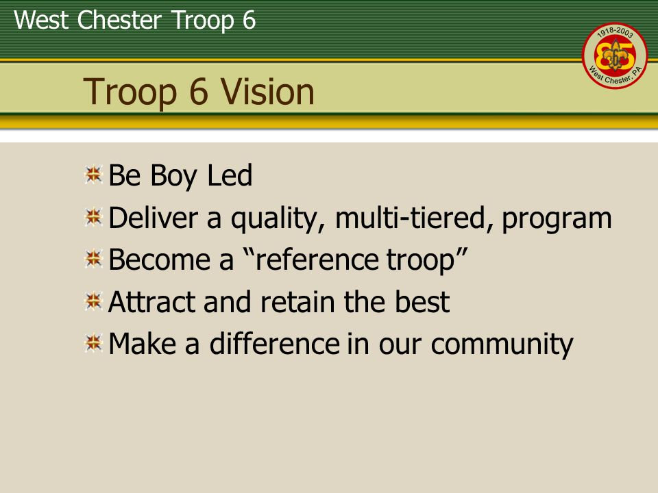 Troop 6 Vision Be Boy Led Deliver a quality, multi-tiered, program