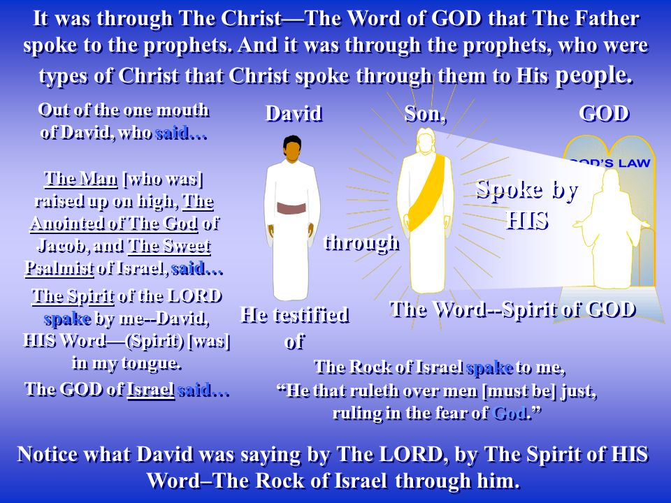 It was through The Christ—The Word of GOD that The Father spoke to the prophets. And it was through the prophets, who were types of Christ that Christ spoke through them to His people.