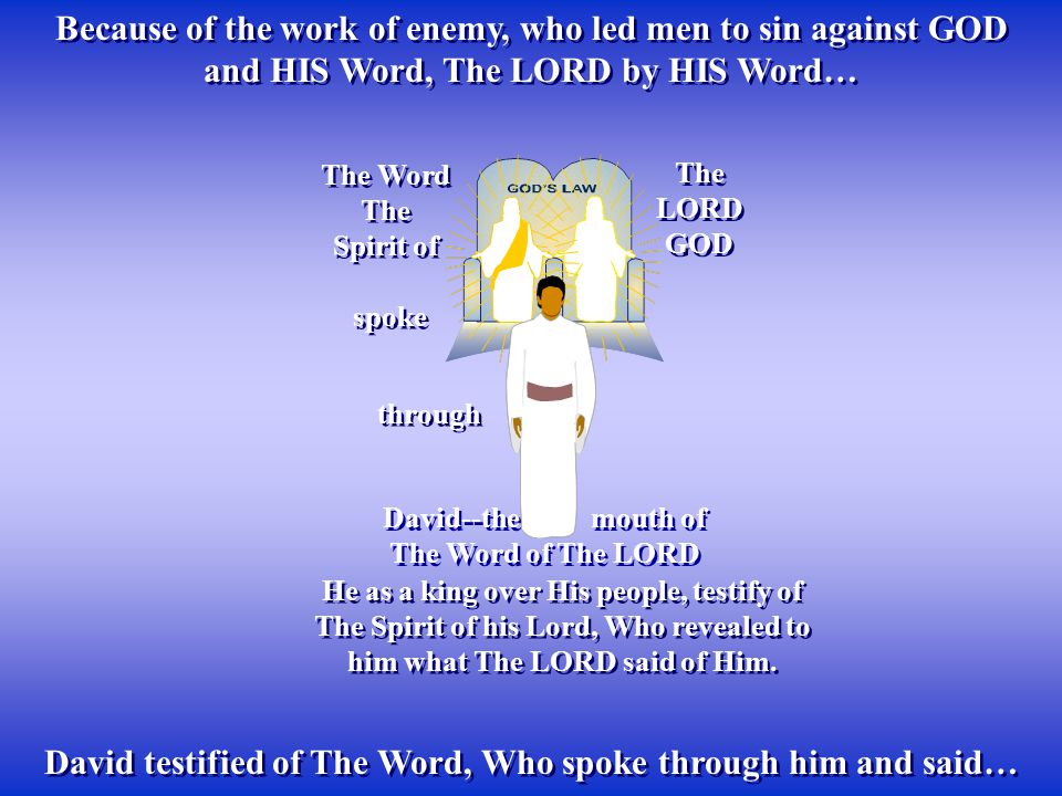 David testified of The Word, Who spoke through him and said…