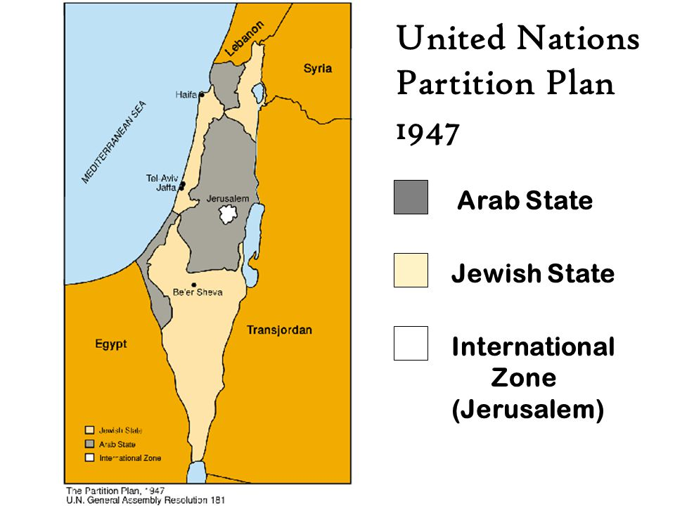 United Nations Partition Plan 1947 Arab State Jewish State
