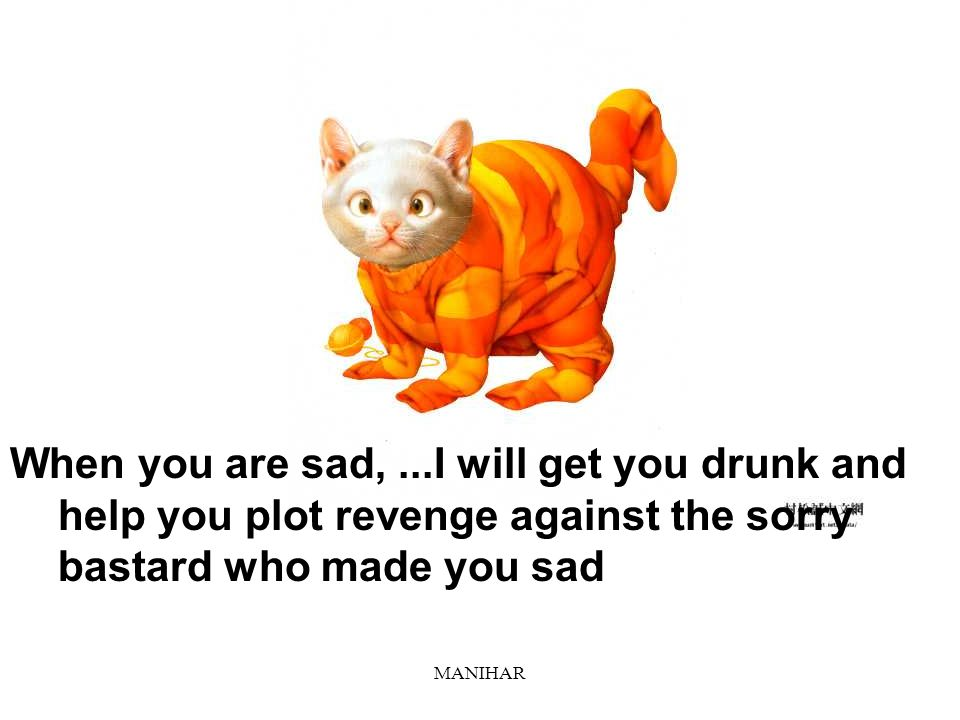 When you are sad, ...I will get you drunk and help you plot revenge against the sorry bastard who made you sad