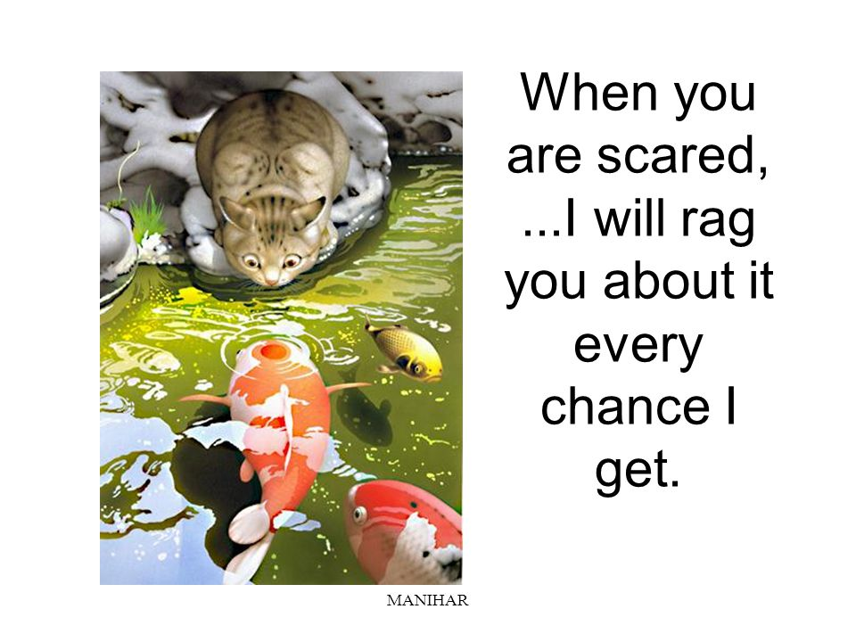 When you are scared, ...I will rag you about it every chance I get.