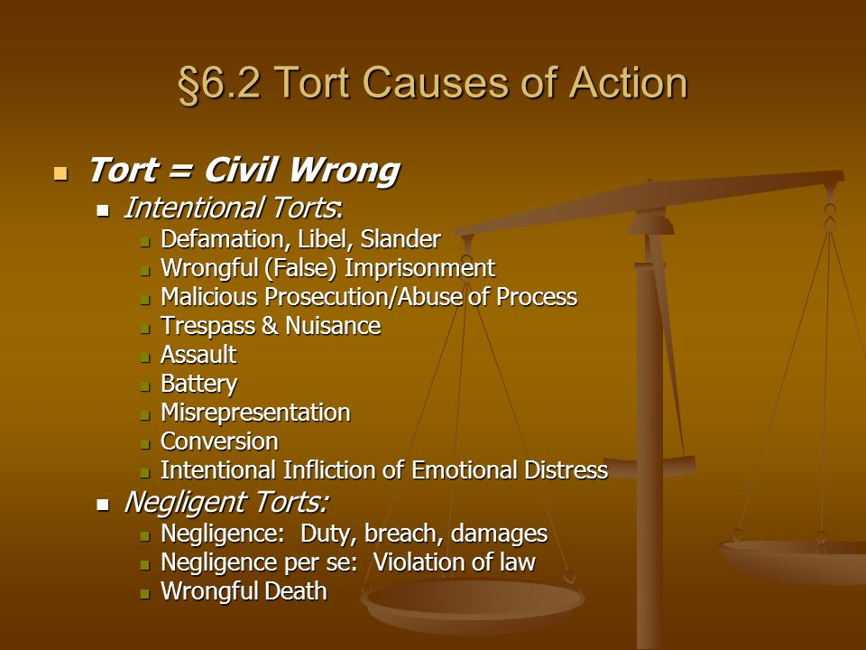 §6.2 Tort Causes of Action Tort = Civil Wrong Intentional Torts: