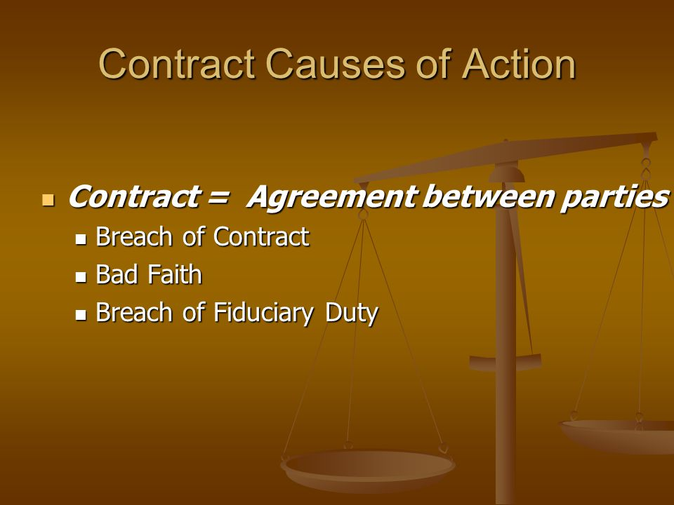Contract Causes of Action