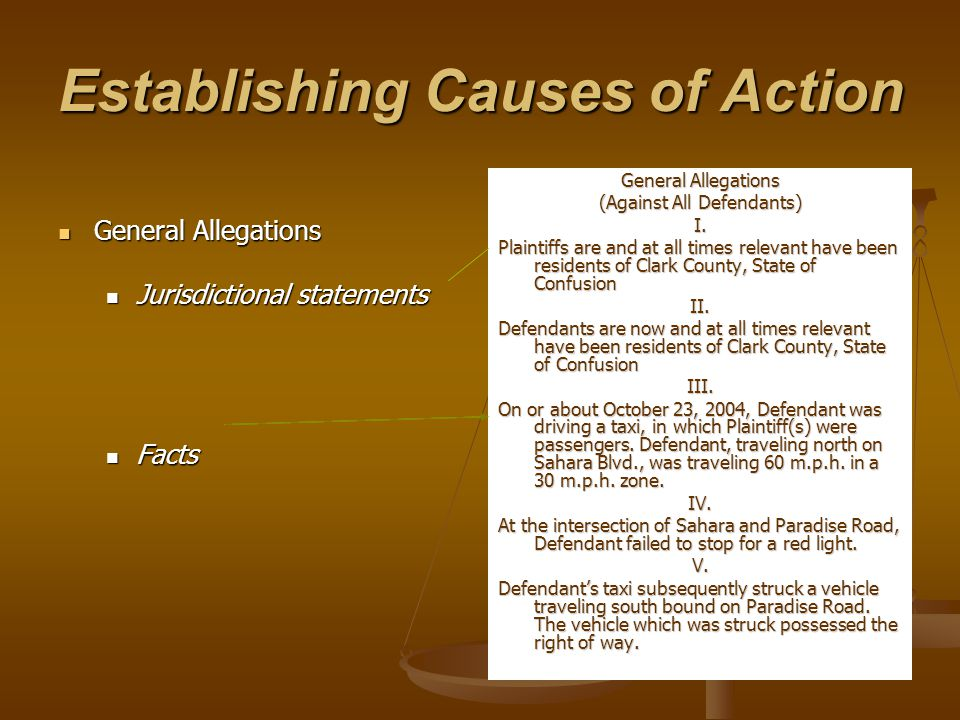 Establishing Causes of Action