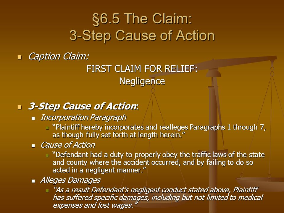 §6.5 The Claim: 3-Step Cause of Action