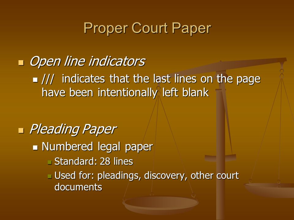 Proper Court Paper Open line indicators Pleading Paper
